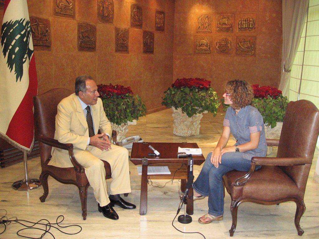 Cu presedintele Libanului, Emile Lahoud - august 2006