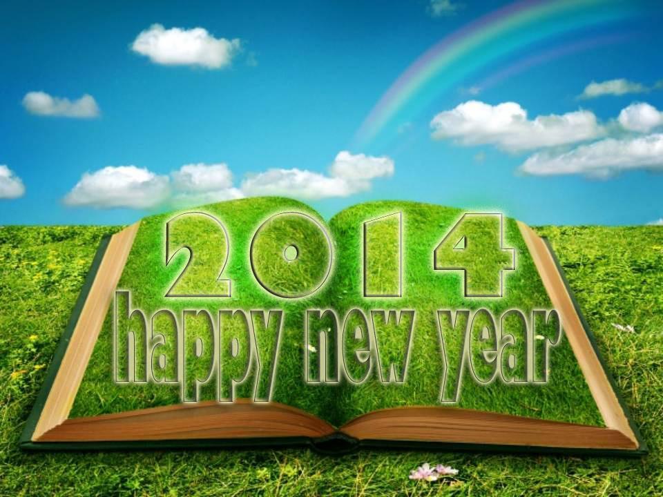 Happy New Year 2014 Book Rainbow HD Wallpaper