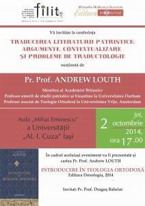 Andrew Louth, profesor emerit de studii patristice si bizantine din Marea Britanie, conferentiaza la Iasi in cadrul FILIT 2014