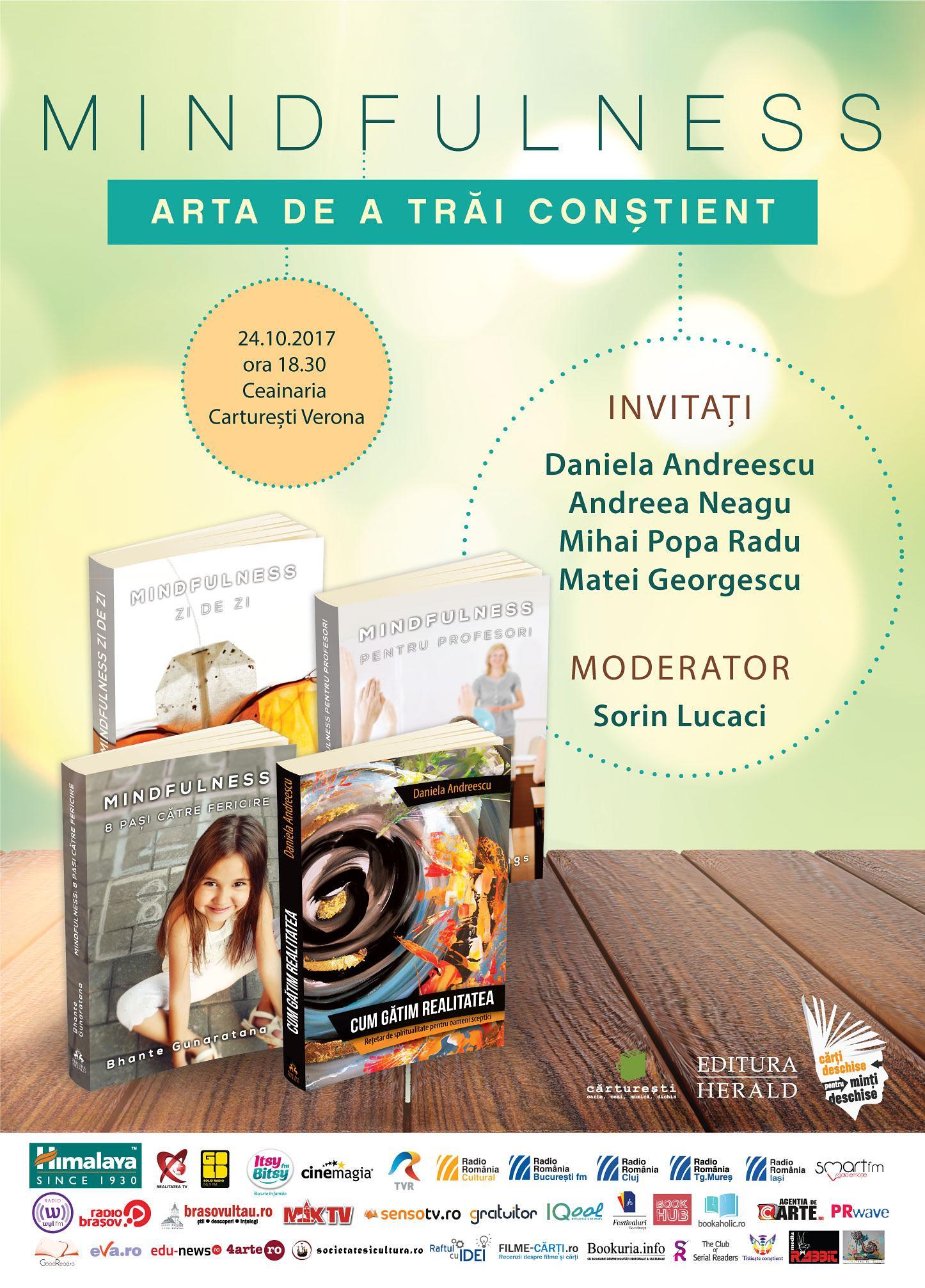 """Arta de a trăi conştient – Eveniment în cadrul campaniei naţionale """"Te aşteptăm în librărie!"""""""